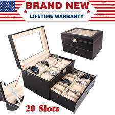 Case Jewelry Collection Storage Organizer Box 20 Slots Pu Leather Watch Display