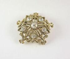 Vintage Star Pin Brooch White Rhinestone Snowflake Round Gold Tone Lapel Hat