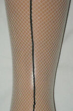 Natural Nude Fishnet Tights. Black Back Seams. dancer 10-14 NEW flesh ivory