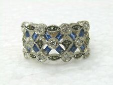 Silver Plated Sapphire Blue & Clear CZ Wide Band Ring, Sz. 8.25
