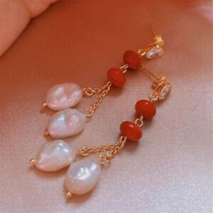 Elegant Natural red agate Pearl Earrings Ping buckle 18KGP Aquaculture New Year