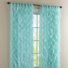 "Cascade Shabby Chic Ruffled Curtain Panel, 50"" wide by 84"" long, Sea, Lorraine"