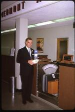 Handsome Man at PIEDMONT AIRLINES Ticket Counter Vintage 1964 Slide Photo
