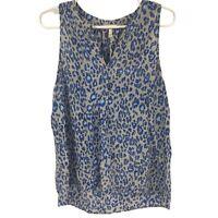 Joie Womens L Large Blue Geometric Silk Blouse Ladies V Neck Top