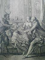 Curiosa rare gravure Diable  La Fontaine Contes 1762 Eisen Joseph de Longueil