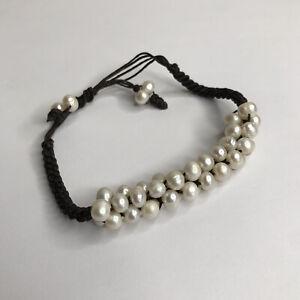 Freshwater Cultured Pearl Shamballa Bracelet Black Cord String Adjustable VTG