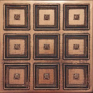 "Ceiling Wall Backsplash Tile Glue Up, PVC 20"" x 20"" ROCOCCO Antique Copper Black"