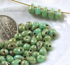 Tear Drop Beads, Turquoise w/Silverish Picasso Finish, Small 4x6mm,, 50 Beads