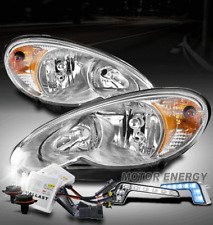 FOR 06-10 CHRYSLER PT CRUISER CHROME HEADLIGHT HEADLAMP +BLUE LED DRL SIGNAL+HID