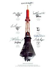 Mercury Capsule Mission Insignia with reprint autographs 8x10 Photo