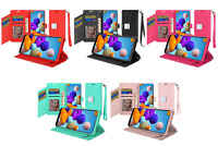 aSamsung Galaxy A21 Case, Magnetic Metal Wallet Snap + Tempered Glass Protector