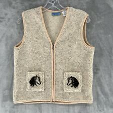 Wrangler Blues Horse Fleece Vest Womens Sz Medium Beige Equestrian Western