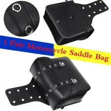 2 Pc PU Leather Black Weatherproof Motorbike Saddle Bag Hard Appearance Modeling