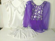 2 Ballet Dance Figure Skating Dresses Kid Medium 7/8 Pure White & Purple Silver