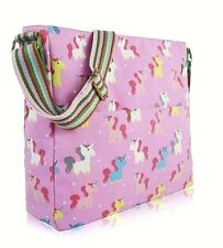 LADIES UNICORN HANDBAG - KIDS SCHOOL BAG -Pink Unicorn Canvas Cross Body Bag-NEW
