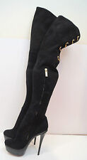RACHAEL ZOE Black Suede Thigh High Gold Tone Platform Evening Boots EU30 UK6
