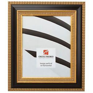"""Craig Frames Ruskin, 2.25"""" Aged Black & Gold Wood Picture Frame"""