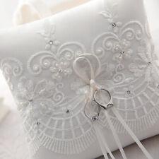 UK Stock Ivory Lace Ring Pillow Wedding Ring Bearer Cushion Engagement Party0411