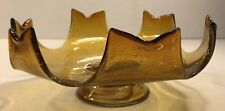 Amber Glass Fruit Bowl Compote Mid Century Atomic Space Age Italy Hand Blown