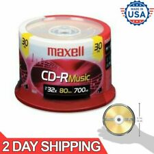 CD-R Blank Media 30 Pack Spindle Maxell Audio Music 32x 80 Minute 700MB Player.