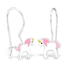 925 Sterling Silver Magical Unicorn Earrings Pink & White & Mini Gift Box HK