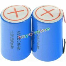 2 pcs 4/5 SubC Sub C 2800mAh 1.2V Ni-Mh Rechargeable Battery Blue Cell with Tab