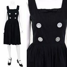 1950's Vintage 2 4 Black Bow Detail Tea Dress Sundress Rockabilly Pin Up XS/S