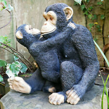 Sitting Mother & Baby Monkey Outdoor Garden Ornament Statue Sculpture Decoration