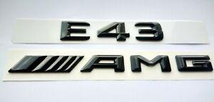 Mercedes E43 AMG schwarz glänzend Schriftzug-Embleme