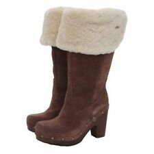 UGG® AUSTRALIA LILLIAN BROWN SHEEPSKIN KNEE HIGH CLOG BOOTS UK 3.5 EU36 RRP £325