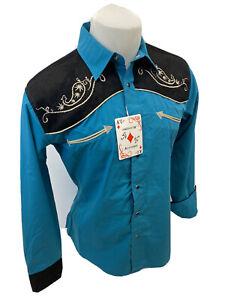 Men RODEO WESTERN BLACK TEAL STITCH Long Sleeve Woven SNAP UP Shirt Cowboy 06615