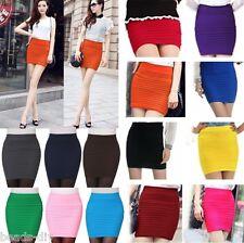 Women Summer High Waist Pleated Stretch Short Pencil Bodycon Mini Skirt One Size
