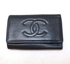 CHANEL key holder black gold hand purse pouch pack bag soft leather big CC logo