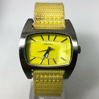 Diesel Womens DZ-2119 5 Bar Yellow Band Silver Stainless Steel Case Wristwatch