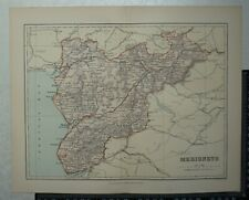 1894 Vintage County Map of Merionethshire by Weller / Brabner