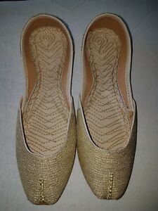 NEW embroidered womens leather Indian khussa slippers size 4/5 boho chic