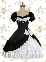 Classical Lace Victorian Lolita Maid Black Dress Cosplay Costume Halloween