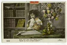 c 1909 Child Children LITTLE GIRL in LIBRARY photo postcard