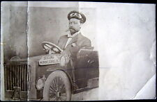 MINNEAPOLIS MN~1900 MAN WITH CIGAR IN MOUTH DRIVING CAR ! Real Photo PC  RPPC