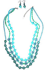 CORAL BEAD NECKLACE/EARRING SET 'TURQUOISE'