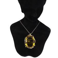 Handmade Oval Green Gold Quartz 103ct Emerald 925 Sterling Silver Pendant Brooch