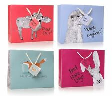 Set of 4 Assorted Large Gift Bags with Tags in Animal Designs
