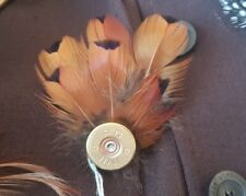 Pheasant Cartridge Hat Pin Feather Brooch Ringneck Cockbird