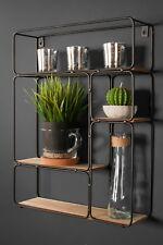 Retro Industrial Style Wall Shelf Shelving Unit Metal Wood Storage Vintage