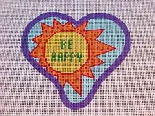 Needlepoint Hand Stitch Painted Canvas DeElda Be Happy Sun Heart Shape 18 Count