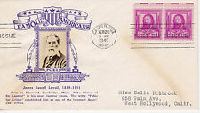 POSTAL HISTORY - CROSBY CACHET 1940 FAMOUS AMERICANS JAMES RUSSELL LOWEIL POET