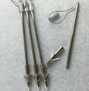 5pcs Steel Fishing Harpoon Slingshot Bullet Spear Prong Barbed Gig Hunting Tools