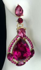 """So Pretty! 1.75"""" Pink Crystal Drop Earrings, Drag Queen, Prom, Bridal, Pageant"""
