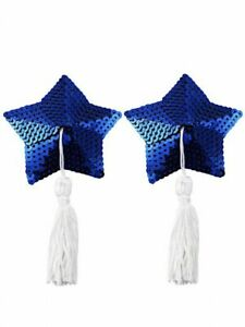 Nipple cover Blue Star Shape Tassel Pasties Nipple Cover Stick on Breast