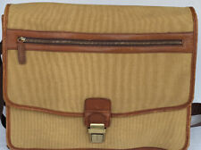 Things Remembered Canvas Leather Tote Briefcase Messenger Bag Tan Brown 16x12